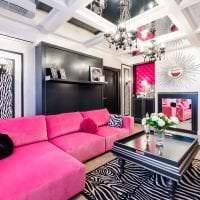 светлый дизайн спальни в цвете фуксия фото