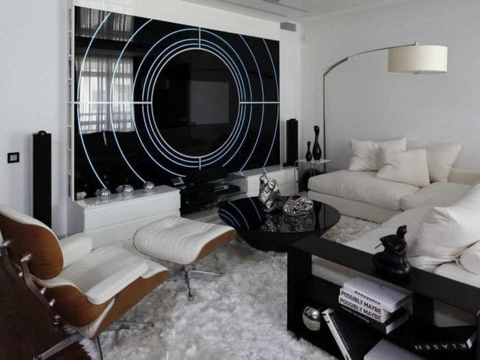 светлый стиль гостиной в стиле хай тек