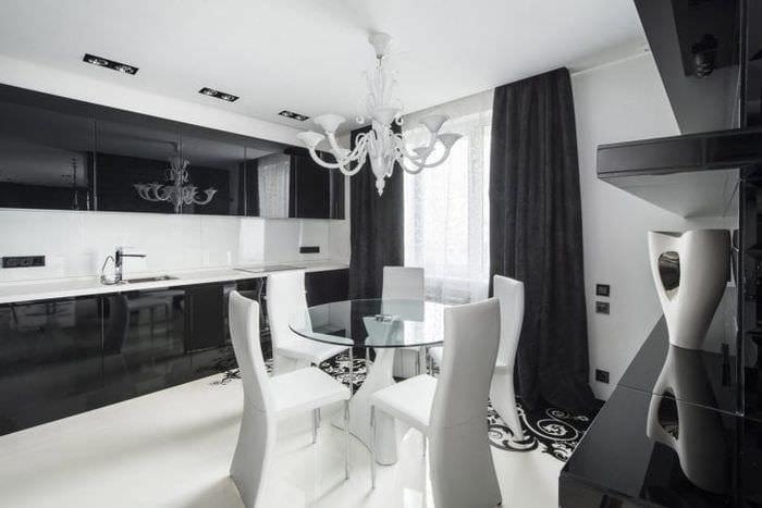яркий интерьер гостиной в черно белом цвете