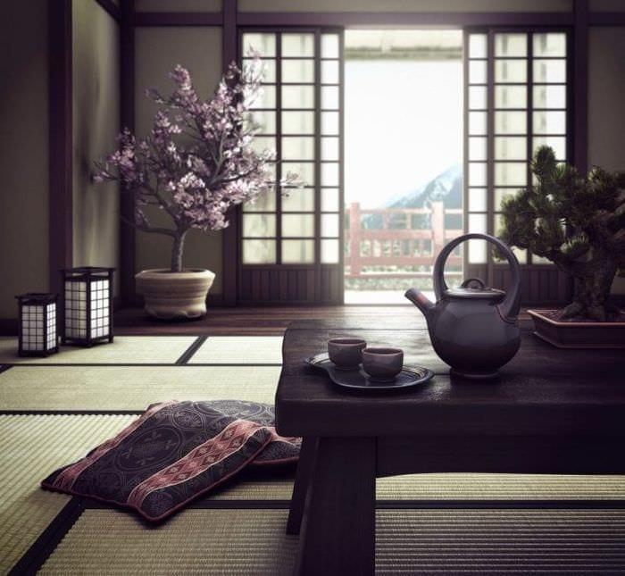 красивый стиль коридора в японском стиле