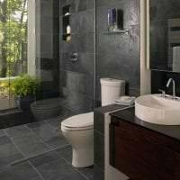 светлый интерьер ванной комнаты с душем в темных тонах картинка