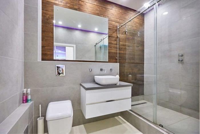 светлый декор ванной комнаты с душем в темных тонах