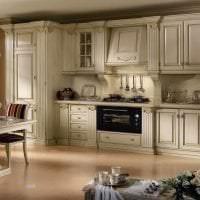 яркий интерьер бежевой кухни в стиле минимализм фото