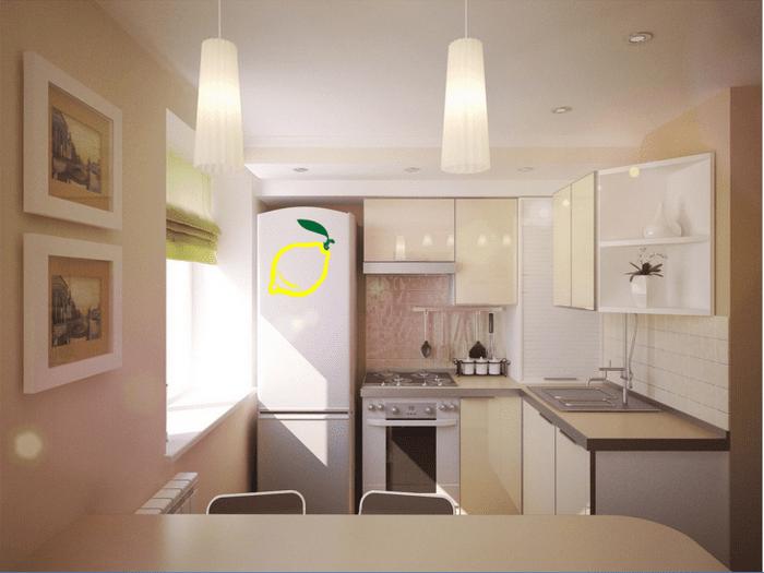 красивый дизайн бежевой кухни в стиле эко