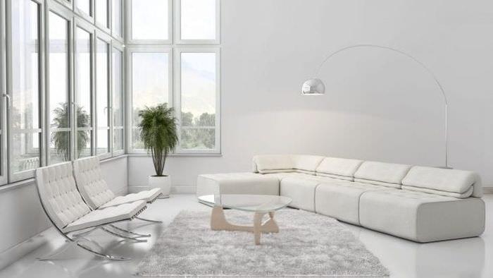 красивый дизайн комнаты в белых тонах