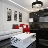 необычный стиль гостиной в черно белом цвете фото