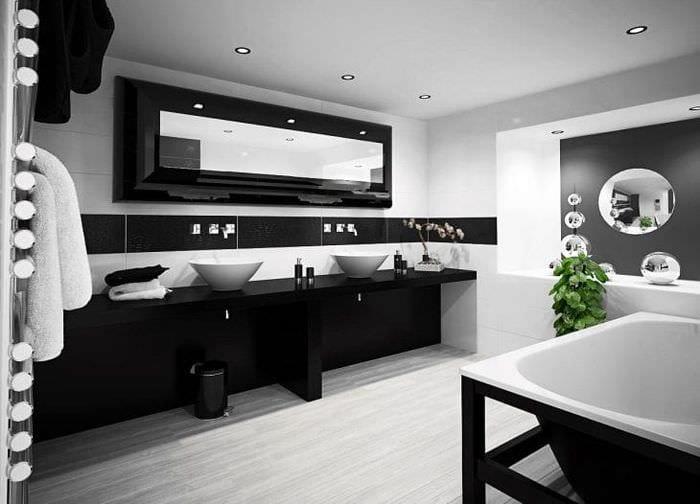 необычный дизайн спальни в черно белом цвете