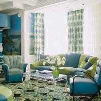 красивый стиль коридора в бирюзовом цвете картинка
