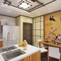 яркий интерьере спальни в японском стиле картинка