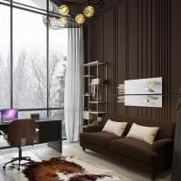 красивый интерьере спальни в шоколадном цвете картинка