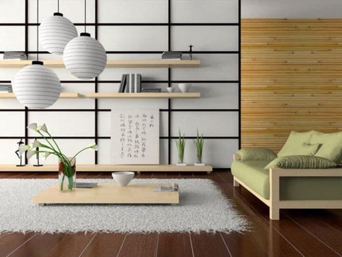 светлый дизайн кухни в японском стиле