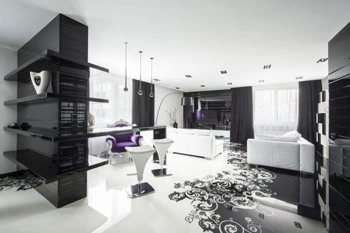шикарный декор коридора в черно белом цвете
