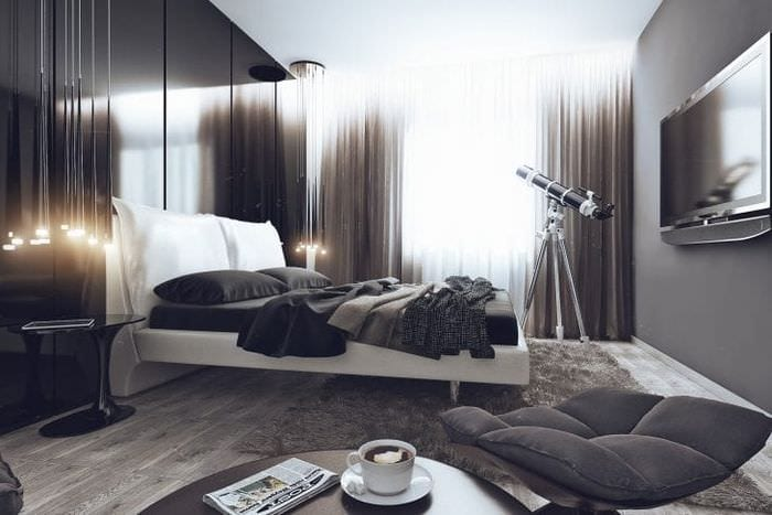 яркий дизайн спальни в стиле хай тек