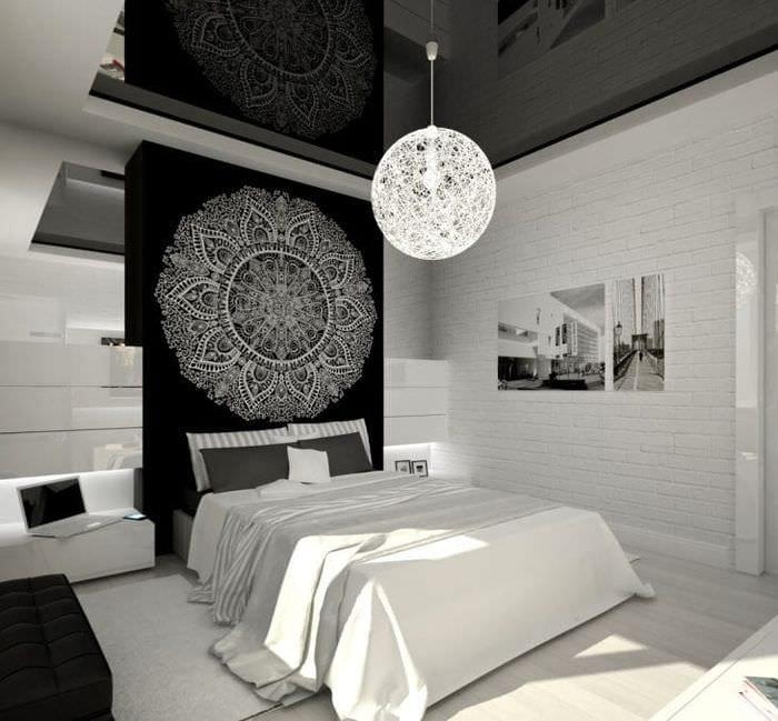 яркий дизайн кухни в черно белом цвете