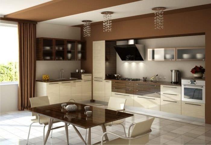 Современная бежевая кухня в интерьере фото