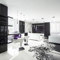 шикарный дизайн коридора в черно белом цвете картинка