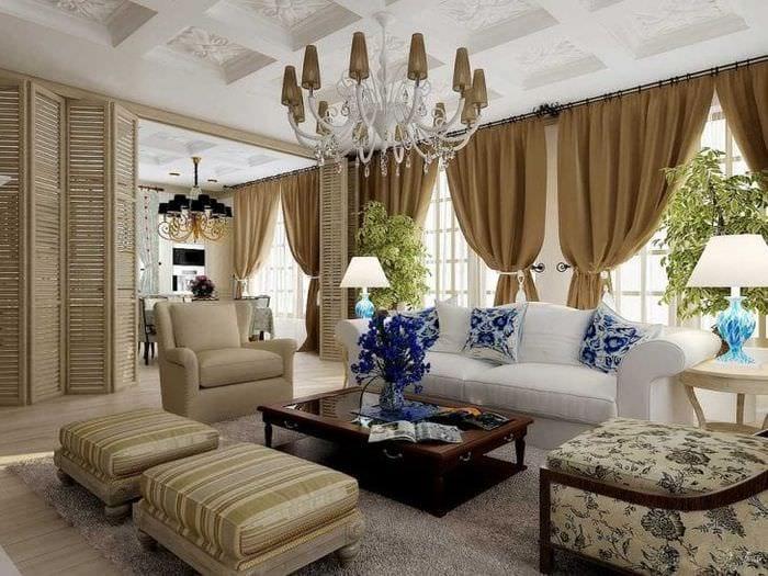 яркий интерьер спальни в американском стиле