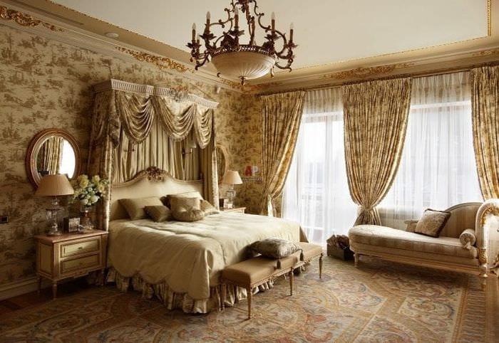 яркий стиль спальни в английском стиле