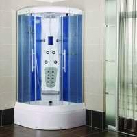 необычный стиль ванной комнаты с душем в темных тонах фото
