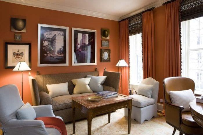 светлый терракотовый цвет в дизайне спальни