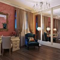светлый терракотовый цвет в дизайне спальни картинка