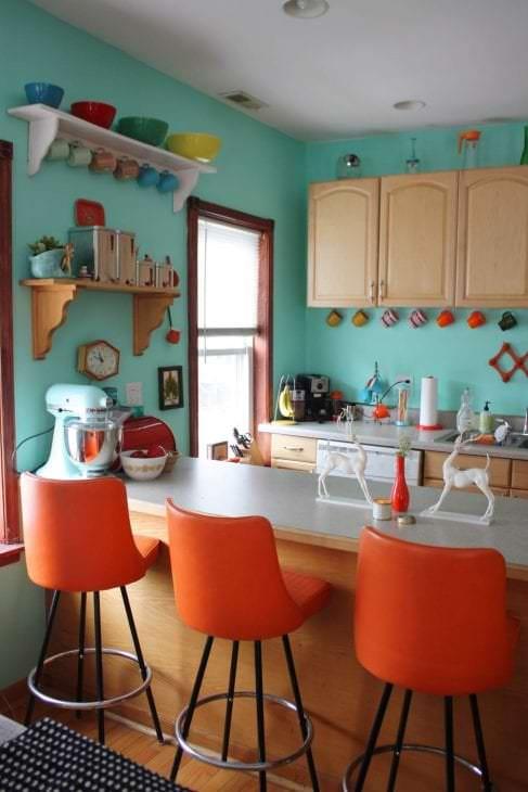 Сочетание цветов в интерьере кухни оранжевый