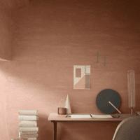 яркий терракотовый цвет в дизайне коридора фото