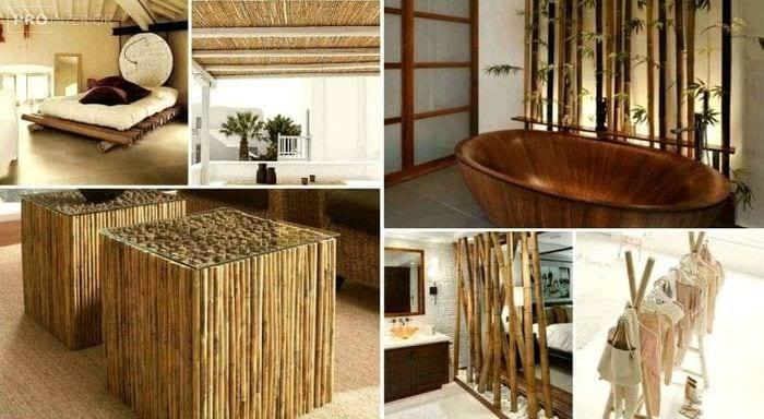 мебель с бамбуком в стиле комнаты