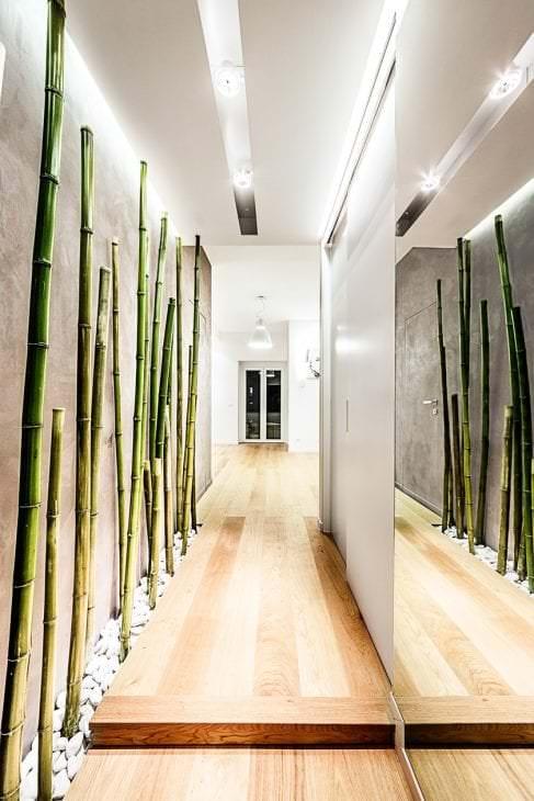 обои с бамбуком в интерьере спальни
