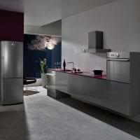 небольшой холодильник в интерьере кухни в стальном цвете картинка