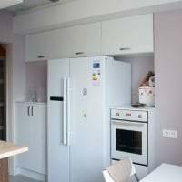 большой холодильник в дизайне кухни в бежевом цвете фото