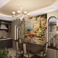 фрески в интерьере спальни с рисунком пейзажа фото
