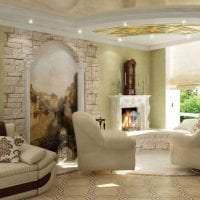 фрески в дизайне гостиной с изображением пейзажа картинка
