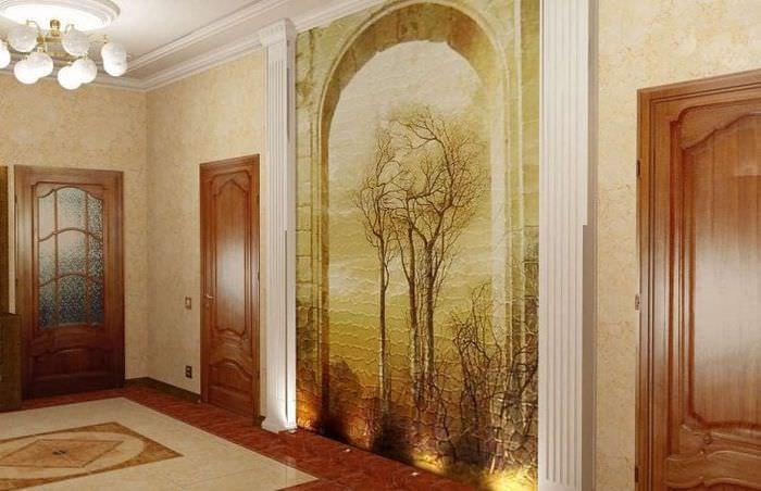 фрески в интерьере прихожей с рисунком природы