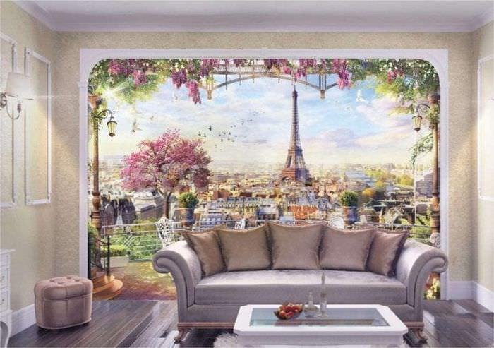 фрески в дизайне спальни с изображением природы