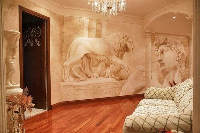 фрески в стиле комнаты с рисунком пейзажа