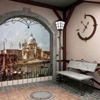 фрески в стиле гостиной с рисунком пейзажа фото