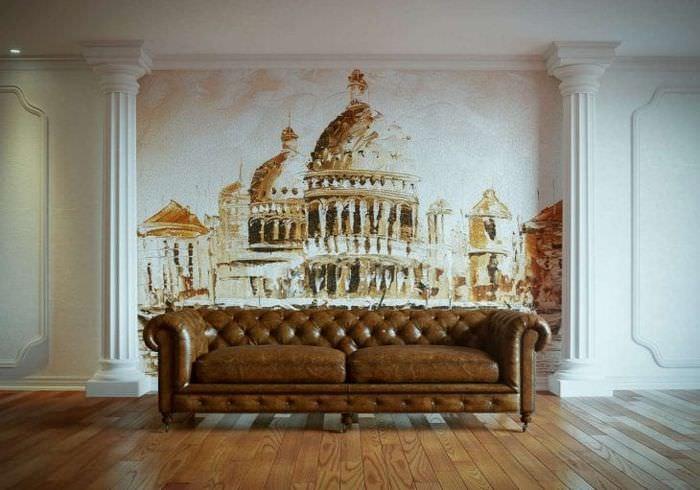 фрески в стиле прихожей с изображением природы