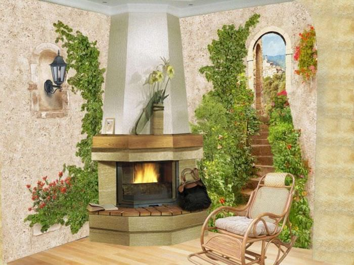фрески в декоре квартиры с изображением природы