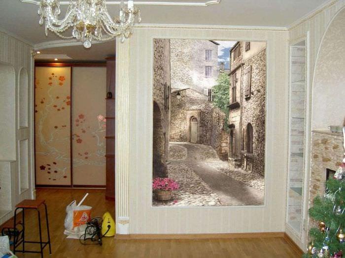 фрески в стиле гостиной с изображением природы