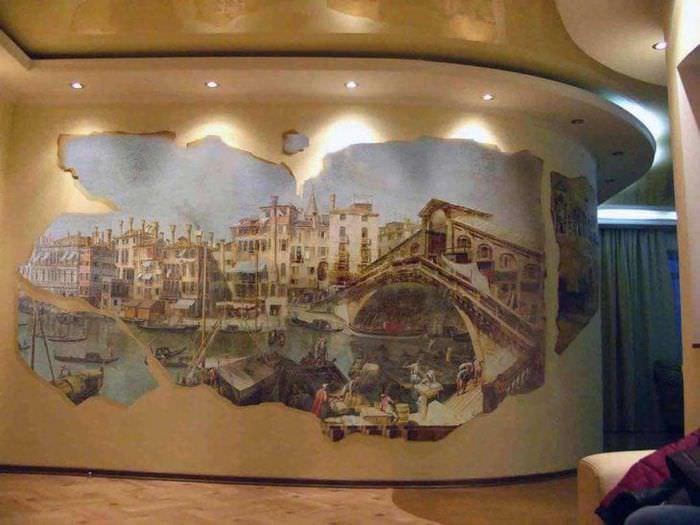фрески в интерьере спальни с рисунком пейзажа
