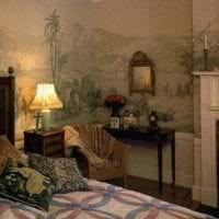 фрески в дизайне спальни с изображением пейзажа фото