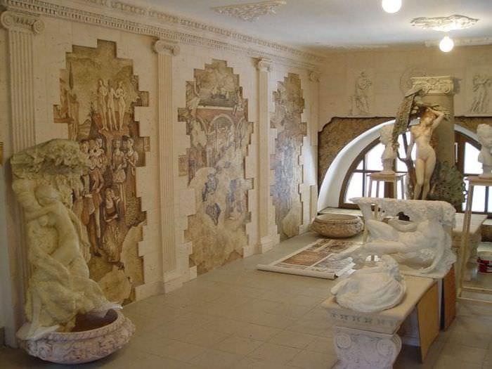 фрески в стиле спальни с изображением природы