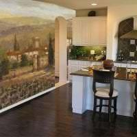 фрески в декоре комнаты с рисунком пейзажа картинка