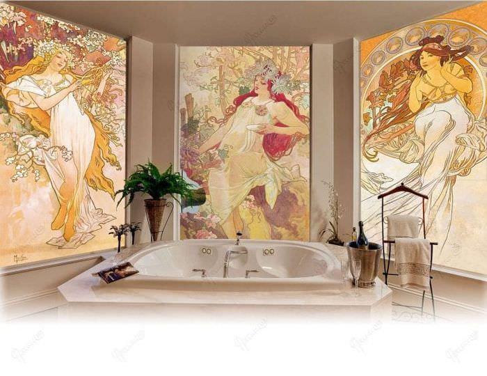 фрески в стиле спальни с рисунком природы