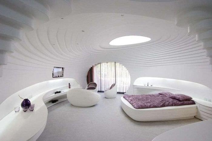 футуризм в дизайне квартиры в необычном цвете