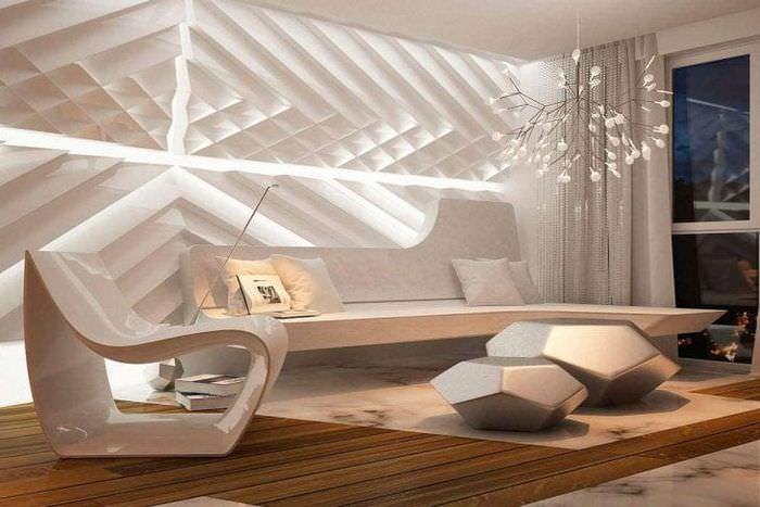 футуризм в стиле гостиной в необычном цвете