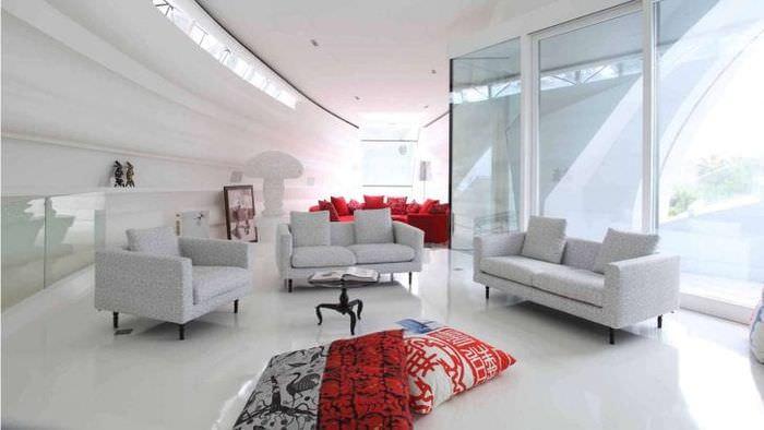 футуризм в интерьере спальни в светлом цвете