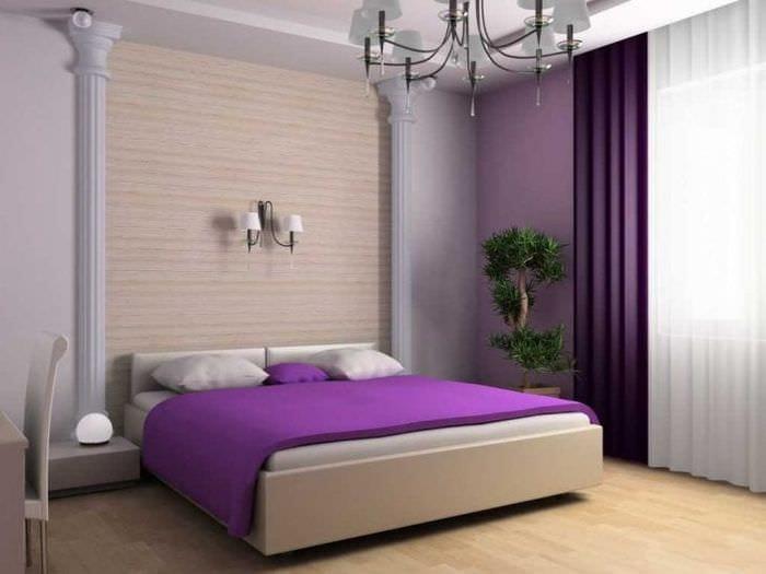 сочетание сиреневого цвета в декоре спальни