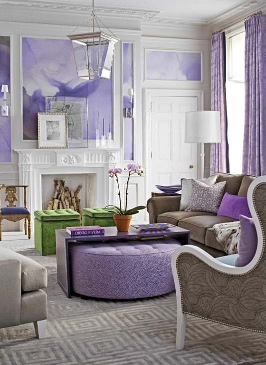 комбинирование сиреневого цвета в стиле дома